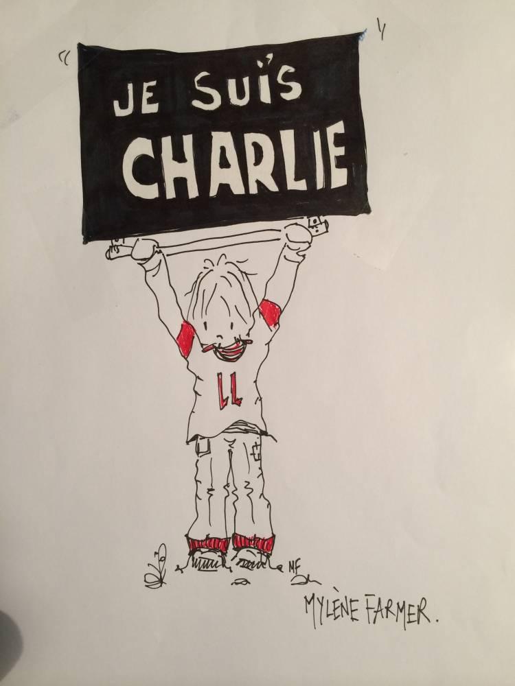 "Mylène Farmer rend hommage à ""Charlie"" ©  DR"