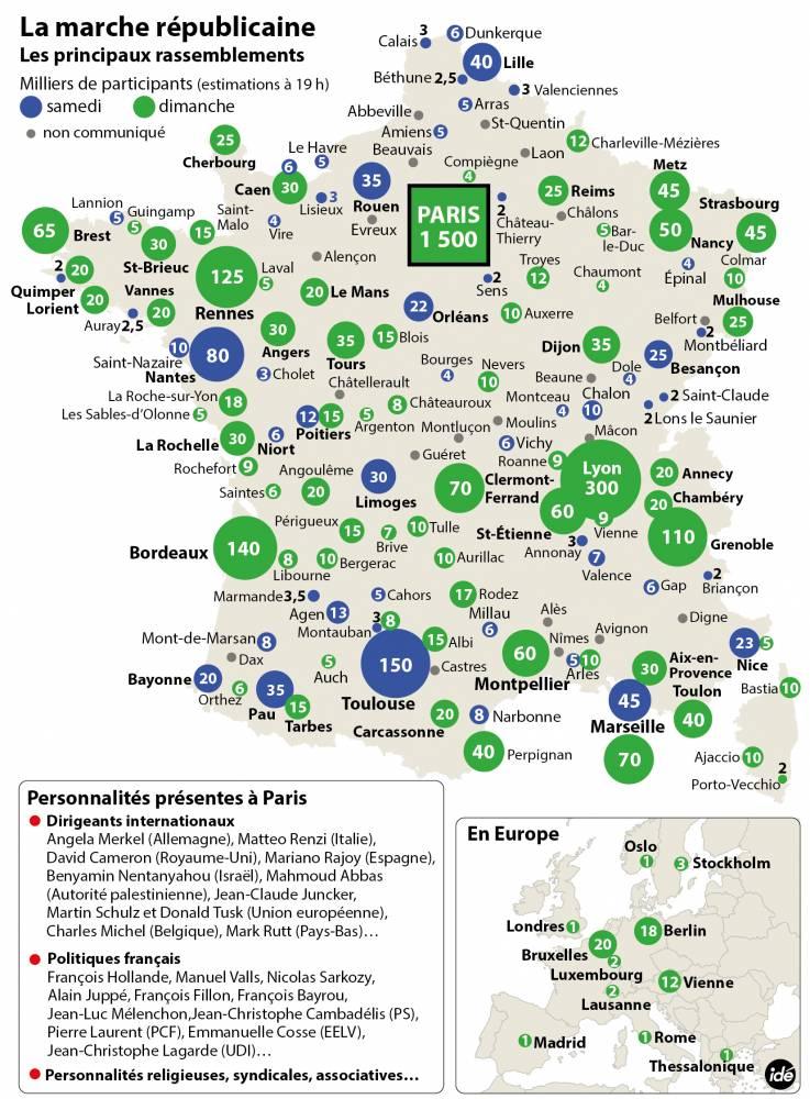 Les manifestations partout en France ©  Idé