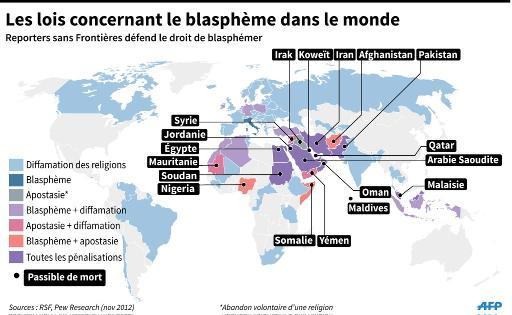 Carte du monde montrant les pays où les différentes lois sur le blasphème sont appliquées, et là où la peine de mort est appliquée © L.Saubadu/J.Jacobsen AFP