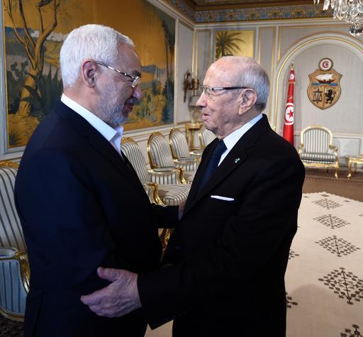 Le chef du parti islamiste Ennahdha Rached Ghannouchi et le président tunisien Béji Caïd Essebsi (g) à Tunis, le 14 janvier 2015 © Fethi Belaid AFP