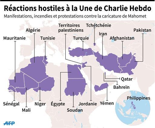 Réactions hostiles à la Une de Charlie Hebdo © P.Pizarro/V.Lefai AFP