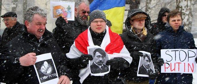 Manifestation contre l'intervention de la Russie de Poutine en Ukraine à Vilnius, la capitale lituanienne, en mars 2014 (photo d'illustration).