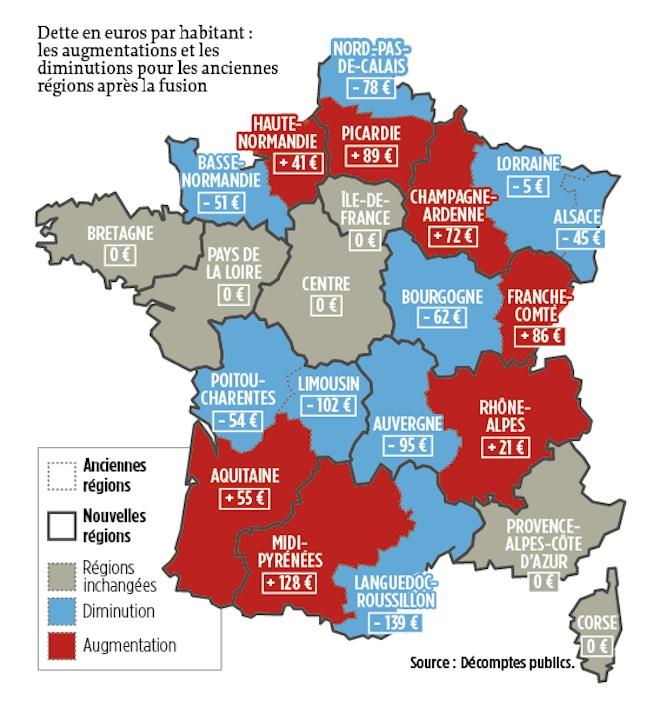 La carte de la dette des nouvelles régions ©  Décomptes publics