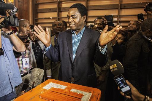 Le candidat de l'opposition à la présidentielle, Hakainde Hichilema (Parti de l'Unité pour le développement national), lors du scrutin, le 20 janvier 2015 à Lusaka © Gianluigi Guercia AFP/Archives