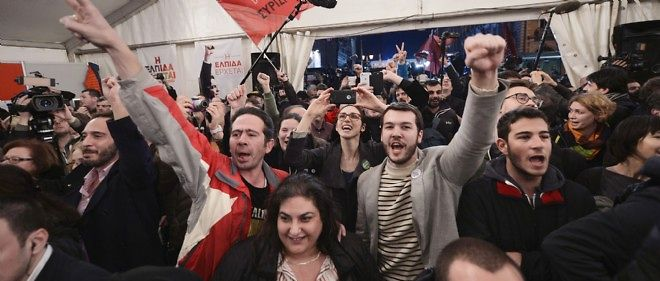 Joie à Athènes chez les partisans de Syriza.