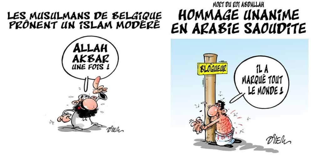 """Deux dessins de Dilem dans """"La liberté"""" ©  Ali Dilem/Liberté"""