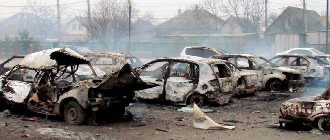Marioupol, le 24 janvier, après le bombardement de la ville par les rebelles pro-russes.