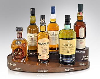 """Présentoir des whiskys """"Classic Malt"""". ©  Classic Malt"""