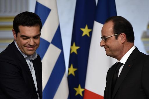 Le Premier ministre grec Alexis Tsipras et François Hollande à l'Elysée, le 4 février 2015 © Martin Bureau AFP