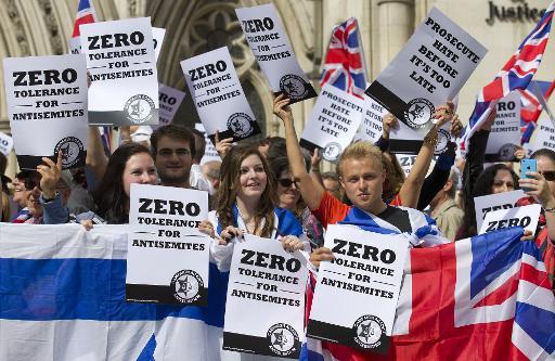 Manifestation devant la Cour royale de justice contre les actes à caractère antisémite, le 31 août 2014 à Londres © Justin Tallis AFP/Archives