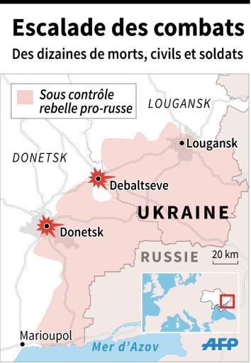 Carte de l'Ukraine avec localisation des combats © P. Deré/J.Jacobsen AFP