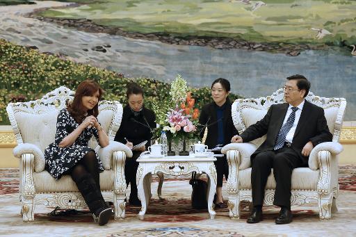 La présidente argentine Cristina Kirchner et Zhang Dejiang, président du comité permanent du congrès national populaire de Chine, le 5 février 2015 au Palais du Peuple à Pékin © Wu Hong Pool/AFP