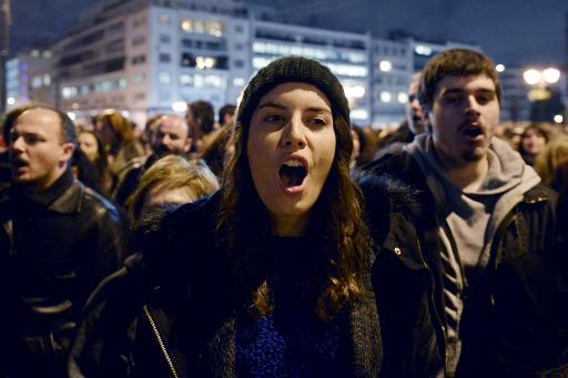 Manifestation de soutien au gouvernement grec à Athènes, le 5 février 2015 © Louisa Gouliamaki AFP
