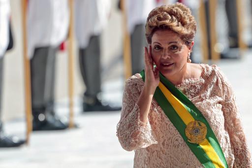 La présidente brésilienne Dilma Rousseff lors de la cérémonie d'investiture le 1er janvier 2015 à Brasilia © Wenderson Araujo AFP/Archives