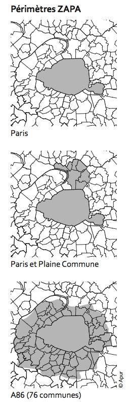 3 scenarios de zone à circulation restreinte, la plus large en bas étant la seule efficace ©  DR