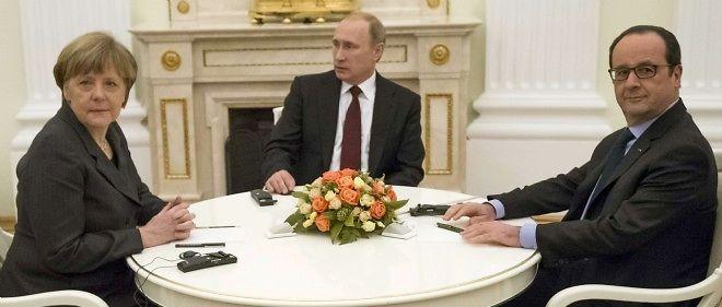 Angela Merkel, Vladimir Poutine et François Hollande.