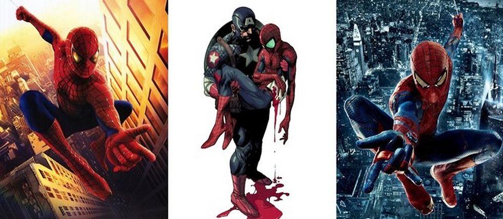 À gauche, le Spider-Man de Sam Raimi (2002), à gauche celui de Marc Webb (2012). Au centre, Captain America et Spider-Man réunis par Marvel