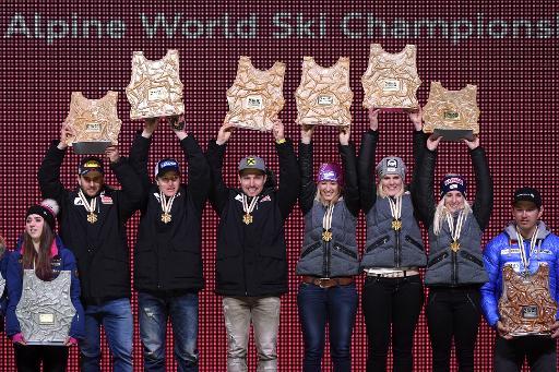 Médaille d'or pour l'équipe autrichienne qui remporte l'épreuve par équipes des Championnats du monde 2015 de ski, le 10 février 2015 à Vail, dans le Colorado © Mark Ralston AFP