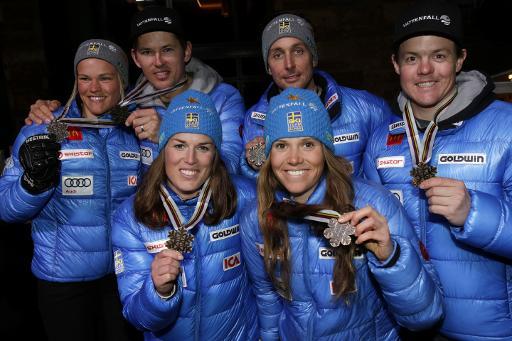 Médaille de bronze pour l'équipe suédoise pour l'épreuve par équipes des Championnats du monde 2015, le 10 février 2015 à Vail, dans le Colorado © Jonathan Selkowitch Pool/AFP