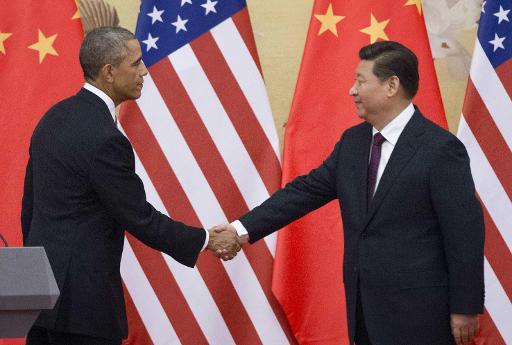 Le président américain Barack Obama et son homologue chinois Xi Jinping, le 12 novembre 2014 à Pékin © Mandel Ngan AFP/Archives