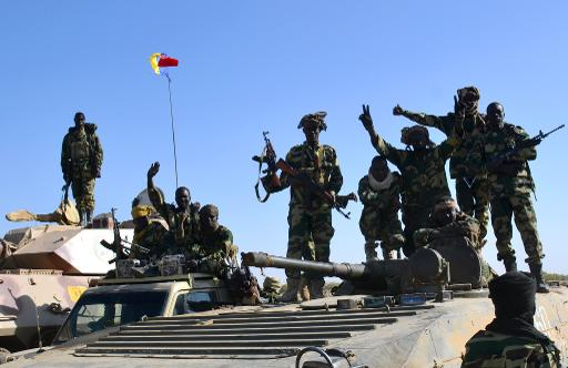 Des soldats tchadiens près de la ville de Gamboru, le 1er février 2015 au Nigeria © Marle AFP