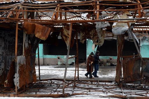 Ruines d'un marché bombardé à Donetsk, le 11 février 2015 © Vasily Maximov AFP