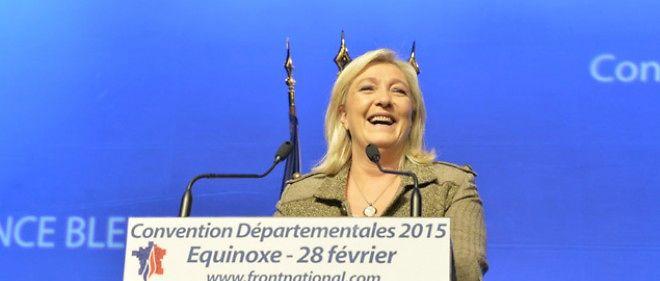La présidente du Front national, Marine Le Pen, le 28 février 2015 à Paris.