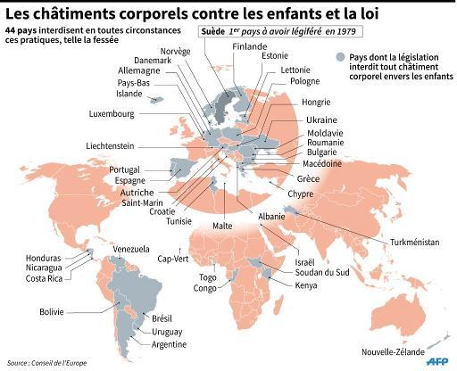 Carte localisant les pays dont la législation interdit tout châtiment corporel contre des enfants © L.Saubadu/A.Bommenel AFP