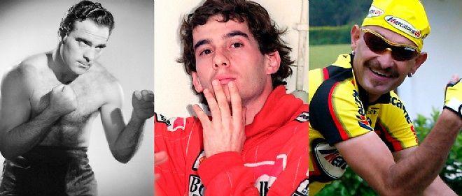 De gauche à droite : Marcel Cerdan, Ayrton Senna et Marco Pantani.