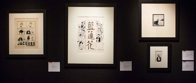 """Le deuxième lot, une couverture originale du """"Lotus bleu"""" réalisée pour le journal """"Tintin"""" (au centre), a été adjugé pour un montant de 577 500 euros."""