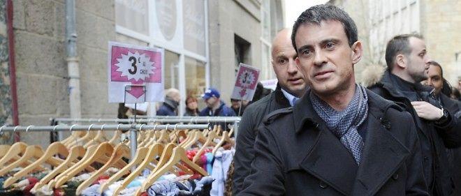 Manuel Valls en campagne à Saint-Brieuc, samedi 14 mars 2015 à l'approche des départementales.