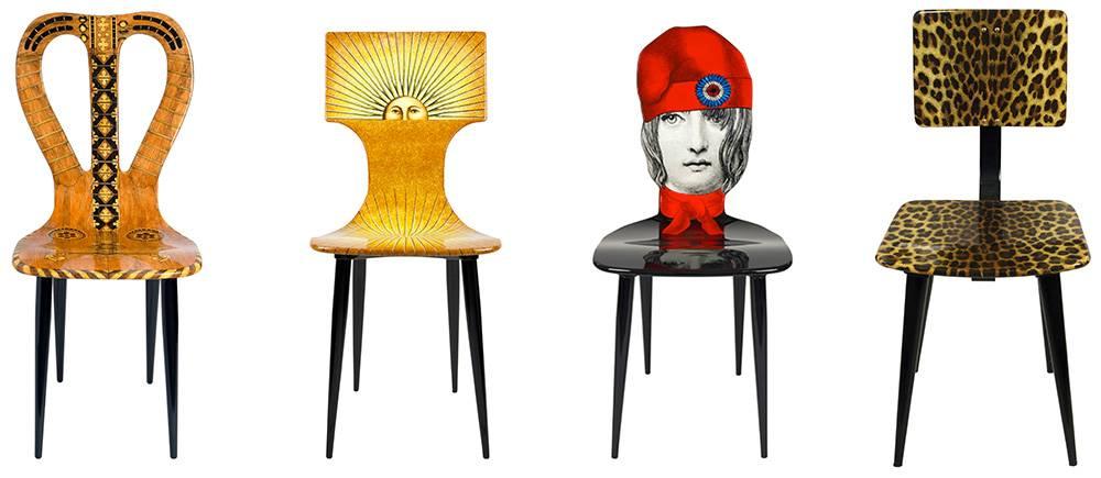 Chaises décorées de Fornasetti ©  DR