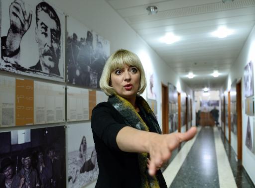 Agnieszka Odorowicz, directrice de l'Institut polonais du cinéma (PISF), pendant une interview le 2 mars 2015 à Varsovie © Janek Skarzynski AFP