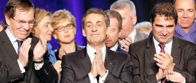 Nicolas Sarkozy au siège de l'UMP dimanche soir, au premier tour des élections départementales.