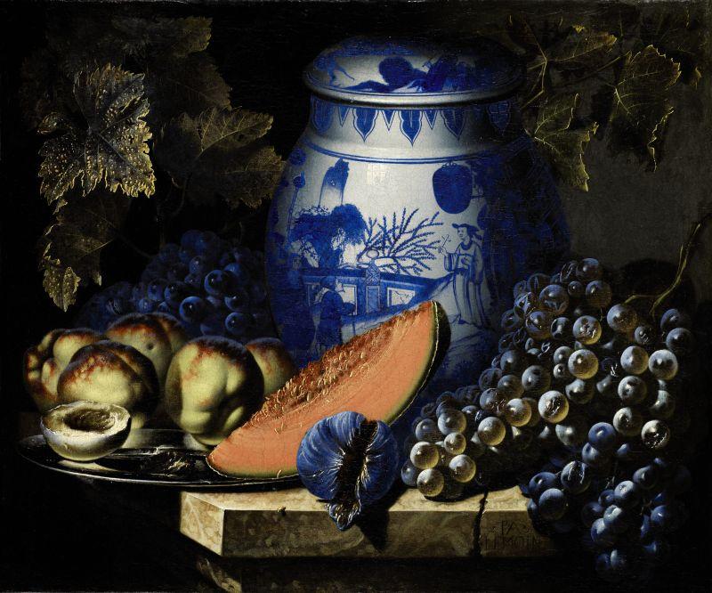 Pierre-Antoine Lemoine : Nature morte au plat de pêches, raisins et potiche chinoise sur un entablement de pierre. ©  Sotheby's / Art digital studio