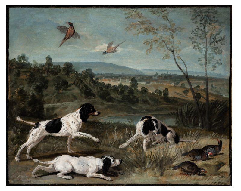 Alexandre-François Desportes : Bonne, Nonne et Ponne, chiennes de la meute de Louis XIV, en arrêt devant des perdrix.