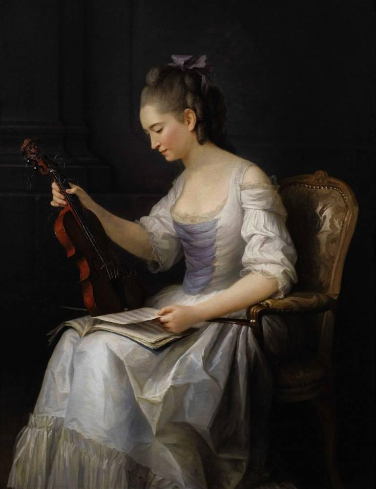 Anne Vallayer-Coster, Portrait de femme assise tenant un violon. ©  Sotheby's / Art digital studio
