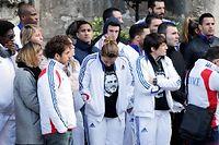 Des Athlètes quittent l'Église, après la cérémonie qui s'est tenue mercredi 25 mars. ©CHARLY TRIBALLEAU