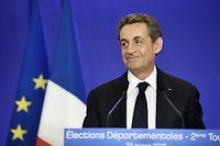 Nicolas Sarkozy, quelques minutes après l'annonce des premiers résultats du second tour des départementales, au siège de l'UMP à Paris.
