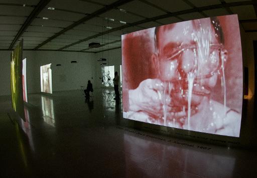 """De larges écrans projetant le travail d'Otto Muehl et d'autres membres du mouvement artistique """"actionniste"""", exposés au Musée d'art moderne (Mumok) à Vienne le 30 mars 2015 © Joe Klamar AFP"""