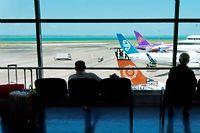 Des passagers attendant dans la salle d'embarquement d'un aéroport (illustration). ©Rafael Ben-Ari/Cham/NEWSCOM/SIPA