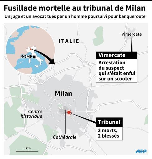 Carte de Milan et localisation du tribunal et de la ville où le suspect d'une fusillade mortelle a été arrêté © I. Vericourt / J. Storey AFP