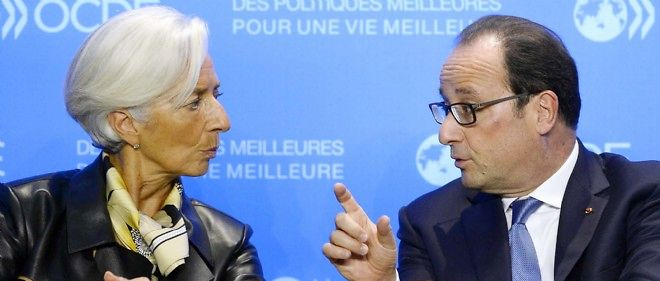 Christine Lagarde, directrice du FMI, et François Hollande, en octobre 2014 (photo d'illustration).