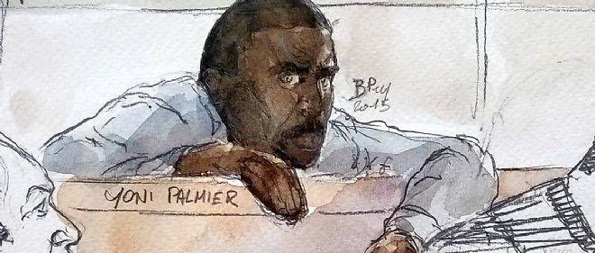 Dessin d'audience de Yoni Palmier à l'ouverture de son procès devant la cour d'assises.