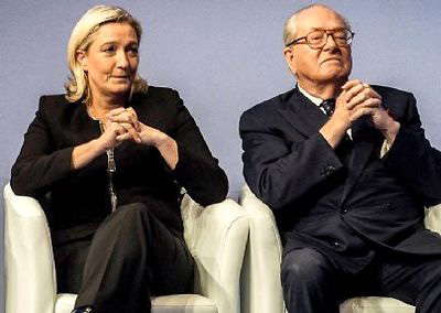 Marine et Jean-Marie Le Pen ©  Jeff Pachoud / AFP