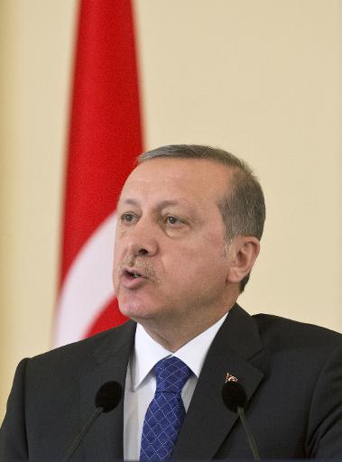Le président turc Recep Tayyip Erdogan à Bucarest le 1er avril 2015 © DANIEL MIHAILESCU AFP/Archives