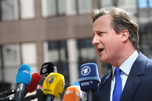 Le Premier ministre britannique David Cameron le 23 avril 2015 à Bruxelles © PHILIPPE HUGUEN AFP
