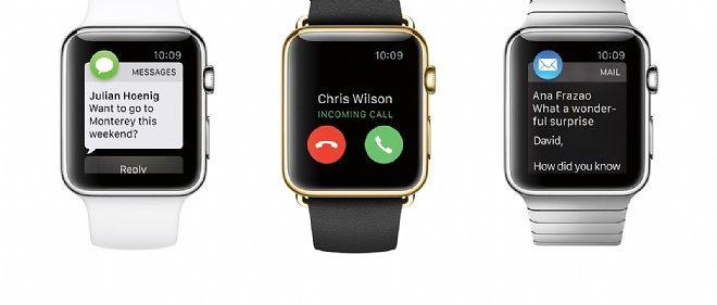 Trois modèles d'Apple Watch.
