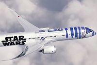 Vue d'artiste du futur Boeing 787 d'ANA aux couleurs de la Guerre des Etoiles. ©ANA