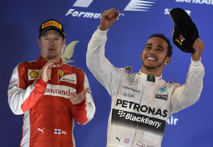 Sur le podium de Bahreïn. ©  FAYEZ NURELDINE / AFP